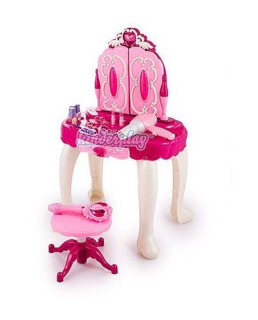 KP8846 PINK DRESSING TABLE TOY GIRLS MAKEUP SET MIRROR HAIRDRYER BRAND NEW
