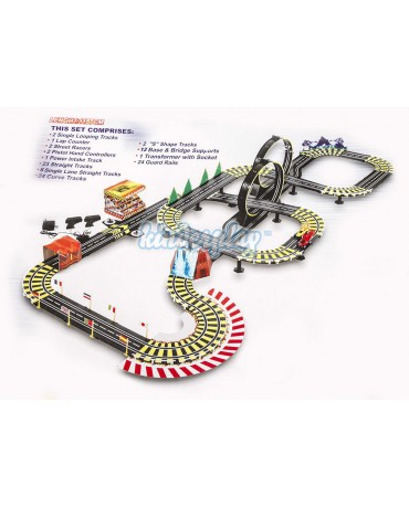 KP8814 Huge racetrack 11 meters- mega set 100 accessories, 2 cars