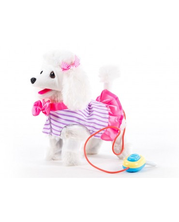 KP3806 INTERACTIVE DOG on the leash,white, walks and barks