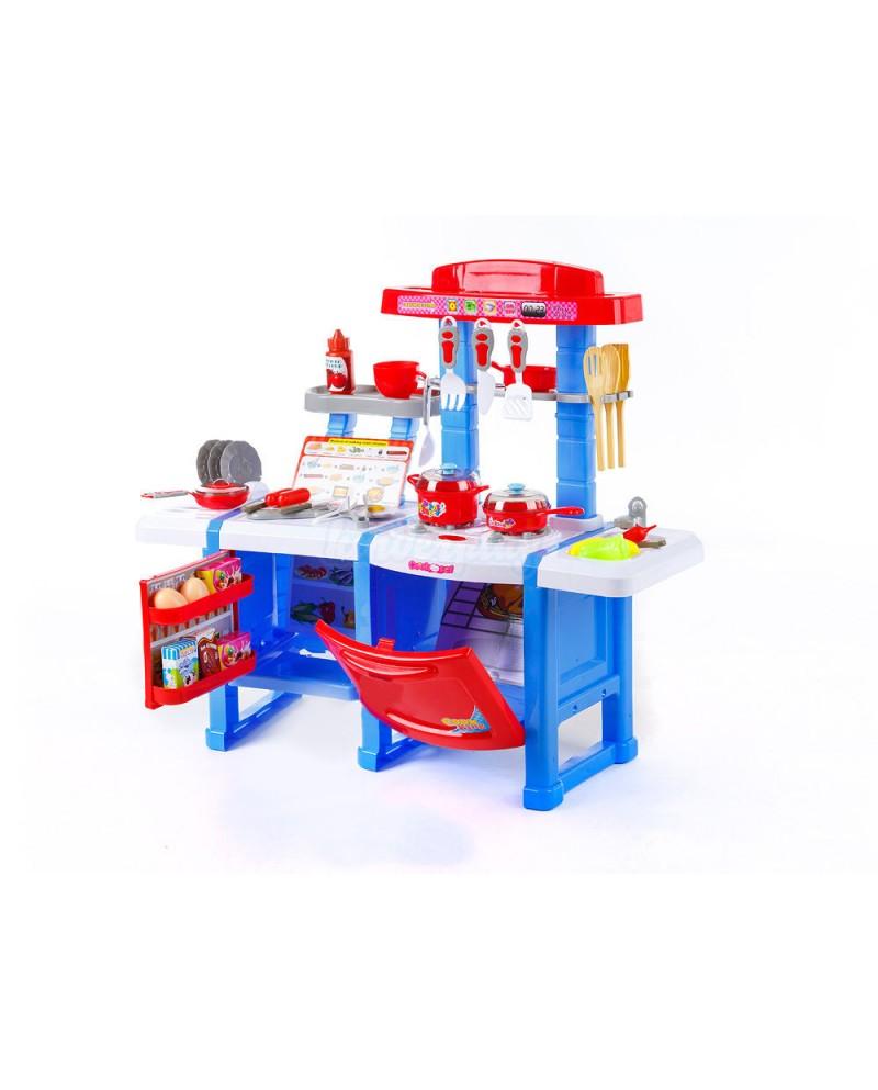 kp3470blu blue toy kitchen children cooking set oven sink fridge - Toy Kitchen