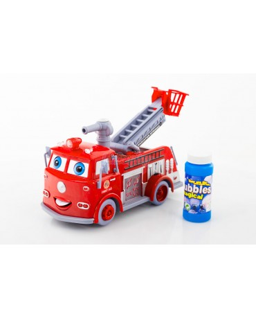 KP1565 Fire Engine Brigade Truck Soap Bubbles Light Music Sound Effects Car Toy
