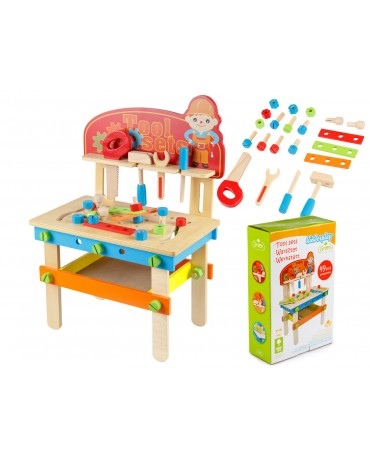 Wooden Workshop Tools Set 49 Items Toys DIY GS0040