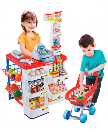 SUPERMARKET SHOP KIDS TOY TROLLEY LIGHT SOUND KINDERPLAY KP6441