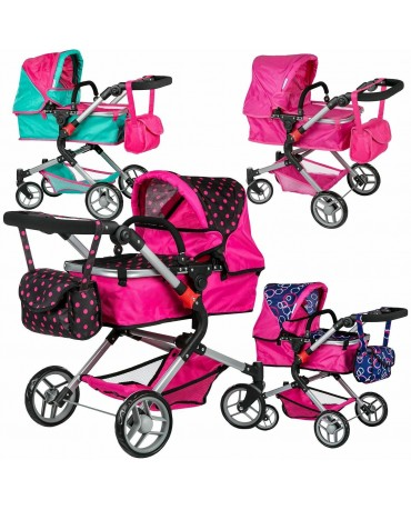 Doll Pram Baby Pushchair Doll Folding Buggy Dolly Childrens Kids KINDERPLAY 0250