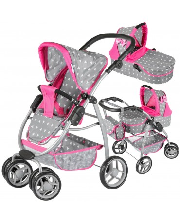 Doll Pram Baby Pushchair Doll Folding Buggy Dolly Childrens Kids KINDERPLAY 300