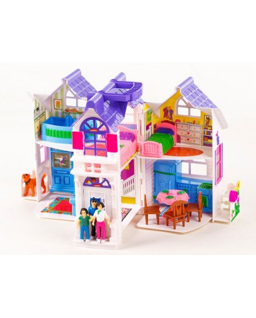 KP9142 Doll's house 6 rooms furniture dog garden