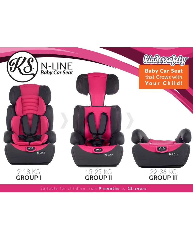 CHILD BABY CAR SEAT SAFETY BOOSTER FOR GROUP 1//2//3 9-36 KG PINK