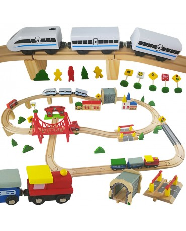 Wooden Train Track Set Kids Activity Toys Kinderplay GS0013