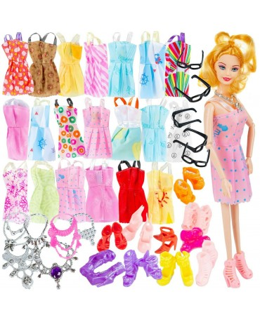 DOLL BARBIE DOLL SET CLOTHES GLASSES DRESS FOR DOLL
