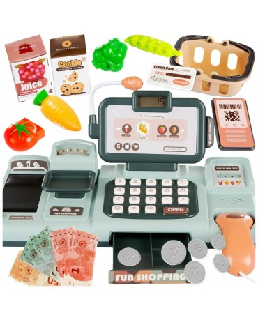 KIDS ELECTRONIC CASH REGISTER TOY BASKET MONEY FRUIT PAY BY PHONE CREDIT CARD
